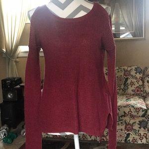 Burgundy Bare-Shoulder Knit Sweater
